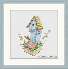 Easter spring blue bird house with bunny and easter egg, cross stitch pattern (instant download) by DailyMagicStitch on Etsy Counted Cross Stitch Patterns, Cross Stitch Designs, Cross Stitch Embroidery, Bluebird House, Magic Design, Girl Sleeping, Spring Design, Digital Pattern, Stars And Moon