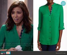 Angela's green blouse with floral trim on Bones.  Outfit Details: https://wornontv.net/58805/ #Bones