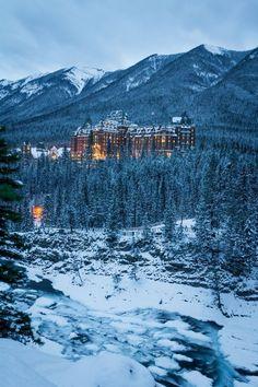 Banff Springs Hotel in Alberta, Canada. A fairy tale hideaway.Fairmont Banff Springs Hotel in Alberta, Canada. A fairy tale hideaway. Banff National Park, National Parks, Places To Travel, Places To See, Banff Hotels, Fairmont Banff Springs, Fairmont Hotel Banff, Banff Canada, Canada Snow