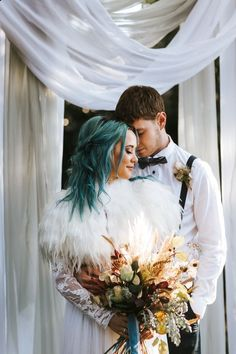 Wedding Looks, Boho Wedding, Witch Wedding, Color Fantasia, Colored Wedding Dress, Alternative Bride, Bridal Hair And Makeup, Festival Wedding, London Wedding