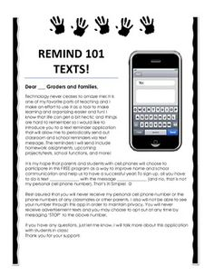 I already use Remind but this is a good idea. This parent letter explains the importance of using the Remind 101 App. It has blanks for teachers to fill in their own numbers and information. Back To School Night, 1st Day Of School, Beginning Of School, Middle School, Letter To Parents, Parents As Teachers, Parent Letters, Kindergarten Classroom, School Classroom