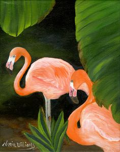 Flamingos by Maria Williams Art Print by marglezart on Etsy