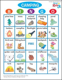 Camping Bingo - Great for kids! There's so much to see and observe when you're on a camping trip. Make a game out of it by filling in these bingo cards with camping-related words and objects. Or use our completed, ready-to-play bingo card. Camping Bingo, Camping Bedarf, Girl Scout Camping, Backyard Camping, Camping Parties, Camping Theme, Camping Activities, Camping With Kids, Family Camping