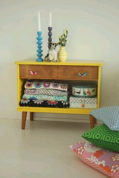 Upcycled cabinet. Add wheels to the drawers and use for under the bed storage