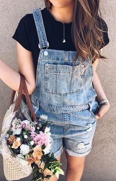 #spring #outfits Black Tee + Ripped Denim Overall