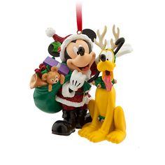 Santa Mickey Mouse and Pluto Ornament | Ornaments | Disney Store