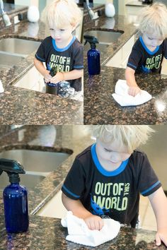 Easy recipe for a DIY All-Natural Cleaning Spray that is so safe our kiddos love to help clean and we love to let them! - Recipes with Essential Oils