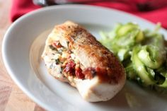 Stuffed Chicken: feta, sun dried tomatoes & artichoke hearts. Preheat oven to 375. Cook for 30 min