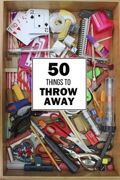 50 Things to Throw Away A list of 50 things we accidentally hoard and what to do with them. TOSS THEM! This list is definitely helpful with spring cleaning right around the corner! Declutter Your Home, Organizing Your Home, Organizing Ideas, Organising Tips, Organizing Clutter, Home Organisation, Storage Organization, Storage Ideas, Cleaning Solutions