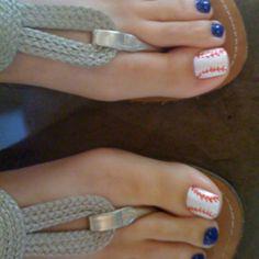 Baseball toes for Lanes first baseball season! Fancy Nails, Pretty Nails, Baseball Toes, Baseball Stuff, Beauty Nails, Hair Beauty, Beauty Magic, Superstar, Mani Pedi