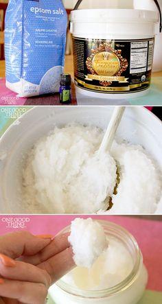 Homemade lavender coconut oil salt scrub - Inspire Beauty Tips