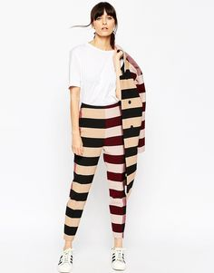 Image 1 of ASOS WHITE Trousers in Block Stripe