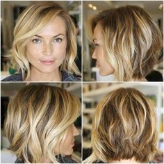 Slightly angled chin-length bob.  Great straight or curly.
