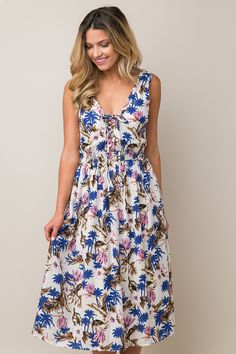 Floral Compass Dress in White    Dress Up Boutique