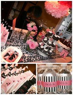 Gorgeous Pink/Black/White Party Combo ... love the water bottle labels!