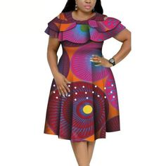 Material: 100% COTTONSeason: SummerStyle: CasualPattern Type: PrintDresses Length: Knee-Length African Dresses Plus Size, Short African Dresses, African Party Dresses, Latest African Fashion Dresses, African Print Dresses, Ankara Fashion, African Prints, African Fabric, Short Dresses