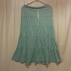 American Eagle Full length skirt Teal / Gray full length skirt, size small, tie waist. American Eagle Outfitters Skirts