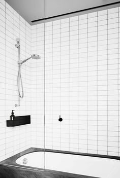 Melbourne designer David Flack turned 30 a few months ago and promptly launched Flack Studio, a two-person office: He's the creative talent and his si. Black Grout, Grey Grout, Herringbone Subway Tile, Flack Studio, Horizontal Radiators, White Subway Tile Bathroom, Timeless Bathroom, Bathroom Modern, Masculine Interior