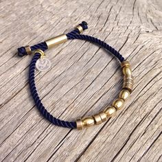 Nautical Rope w/ Brass Beads  Custom name in morse by byMarisSal