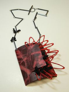 Necklace | Thea Clark. 'Weather'  Copper, cotton, image transfer, nickel. sterling silver