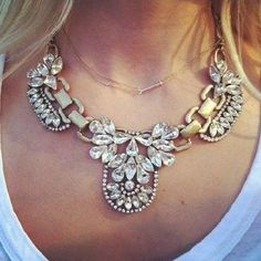 Crystal Bib Statement Necklace.  Wear alone, not with the other small chain...