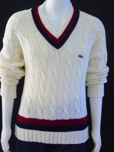 Mens Tennis Sweater Vintage 1960s Izod Lacoste by 777VintageStreet
