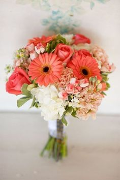 The Coral Gerberas - Bright, Pastel or Wild – 20 Fabulous Summer Wedding Bouquets - EverAfterGuide