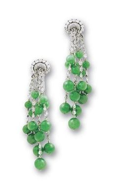 A pair of jadeite and diamond pendent earrings, by Michele della Valle