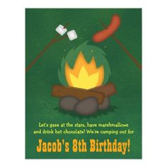 Shop Camping Bonfire Birthday Party Invitations created by RustyDoodle. Camping Theme Cakes, Camping Party Invitations, Kid Party Favors, Birthday Party Invitations, Toy Story Party, Toy Story Birthday, 8th Birthday, Birthday Ideas, Bonfire Birthday Party