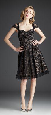 1950s Style Dress, Black & Nude Lace Short Dress $498   #prom #1950s #uniquevintage