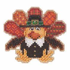Tom Turkey Beaded Cross Stitch Kit Mill Hill 2015 Autumn Harvest - $5.99