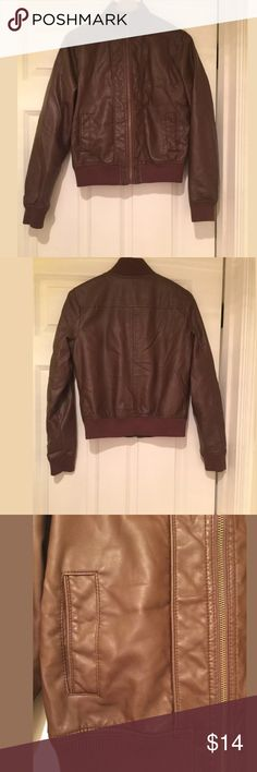 """Xhilaration Faux Leather Jacket Brown. Size Medium Approximate measurements are taken without stretching. -- armpit to armpit: 18"""" --armpit to hem: 12"""" Shipping from a nonsmoking, pet free home. Feel free to make any reasonable offers 🎈 Xhilaration Jackets & Coats"""