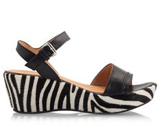 e8d518923 Zamagni Black nappa leather zebra pony-hair wedge heel and platform sandals