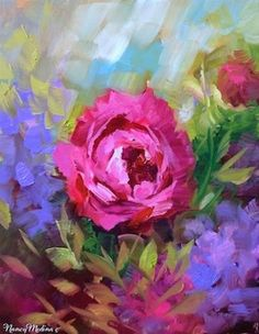 "Daily Paintworks - ""Heart Haven Pink Rose and a North Texas Workshop by Nancy Medina"" - Original Fine Art for Sale - © Nancy Medina"