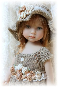 "OOAK Hand-knit set by R&M DOLLFASHION-LACE LINE for Effner 13"" Kish 14"" BJD doll"