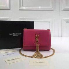 2016 Cheap Saint Laurent Bags Sale-Classic Small Monogram Tassel Satchel in lipstick red leather