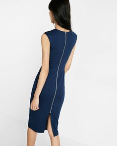 knit zip back sheath dress - Size 8 Ensign Blue