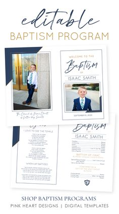 Save time preparing for your son's baptism with this classic baptism program! Your information and photos can easily be added by you! Download and print today!  Click to DEMO this baptism program and a matching invitation now!  #baptismprogam #LDSbaptism #boybaptism #LDSprintable #ldsbaptismprogram #LDSbaptisminvitation #printableprogram #editablebaptism #boybaptismprogram Lds Baptism Program, Baptism Invitation For Boys, Baptism Invitations, Baptism Announcement, Birth Announcement Template, Birth Announcements, Baptism Party, Boy Baptism, Baptism Ideas