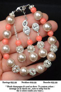 Champagne coral Pearl Wedding BraceletBlush by thefabbridaljewelry