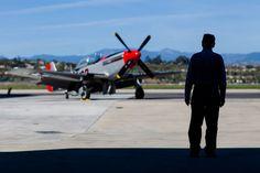 CAF SoCal's P-51 Mustang on display outside a hangar at Camarillo. Commemorative Air Force
