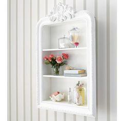 Scaffale scolpito bianco in legno L 79 cm ROMANTIQUE
