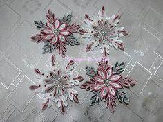 Ružovo-bielo-strieborné vločky na stromček..:)