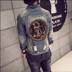 Autumn Hi-Street Men jeans Jackets casual washed patchwork Distressed Denim Man Slim Fit Streetwear Hip Hop Vintage Jacket Denim Shirt Men, Denim Jeans, Vintage Jacket, Distressed Denim, Street Wear, Men Casual, Slim, Jackets, Cardigans