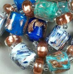 "TRIZAS-ORIGINAL  Handmade lampwork bead ""reflections of the sea"" TOS0511 SRA #TRIZASOriginal #Lampwork"