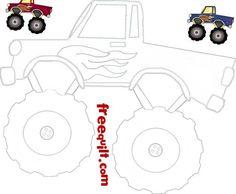 Monster Truck Pattern Red Monster Trucks Quilt Sewing Patterns Monster Truck Art