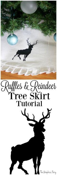 Ruffles & Reindeer Tree Skirt - The Graphics Fairy