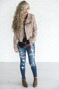 Dusty Rose Moto Jacket - Mindy Mae's Market  \\  fashion, style, outfit, cognac boots, ripped jeans, distressed denim, floral shirt, floral, leather jacket, faux leather, moto jacket, blush moto jacket, blush, cute jacket, fall outfit, outfit idea, cute outfits