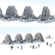 echo base on hoth Star Wars Holonet, Lego Space Station, Minifigures Lego, Instructions Lego, Lego Memes, Lego Universe, Lego Sculptures, Star Wars Concept Art, Lego Modular