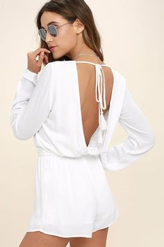 c44f1a4d604a The Greatest Hits White Backless Romper is ready to be worn over and over!  This