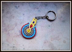 MANDALA  -brand new keychain. Made of soutache strings PEGA, plastic/ ceramic beads and natural stone (carneol).  Available